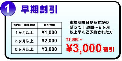 早期割引 ¥1000〜¥3000割引